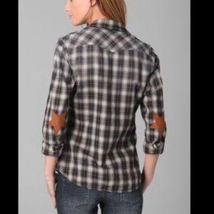 Maison Scotch leather star elbow patch plaid top